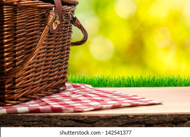 Picnic basket on the table
