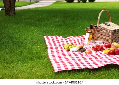 Picnic basket with products and bottle of wine on checkered blanket in garden. Space for text