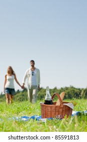 Picnic basket - Romantic happy couple in meadows nature sunny day