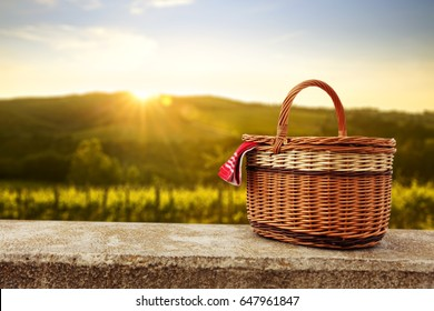 picnic basket and summer day