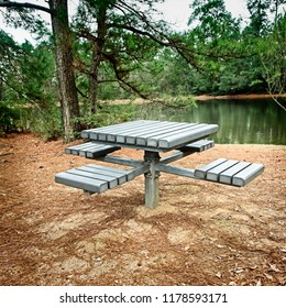 Picnic Bench by a Lake