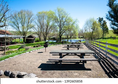 Picnic bench in open area