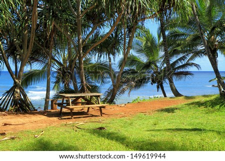 Picnic Bench Paradise Green Grass Palm Stock Photo Edit Now - Palm-tree-furniture-from-pacific-green