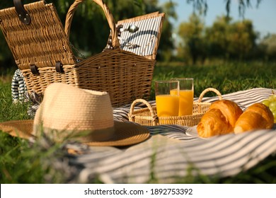 Picnic blanket with delicious food and juice outdoors on sunny day