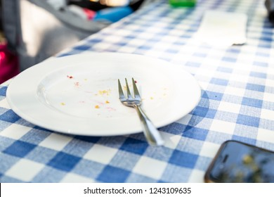 Picnic with blue and white tablecloth