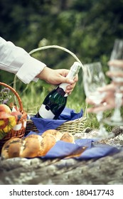 Picnic with champagne, fruits on the grass