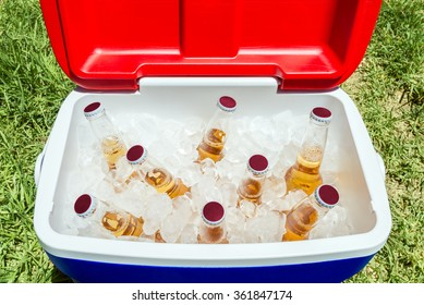 Picnic cooler box with bottles of beer and ice on grass during Australia Day celebration