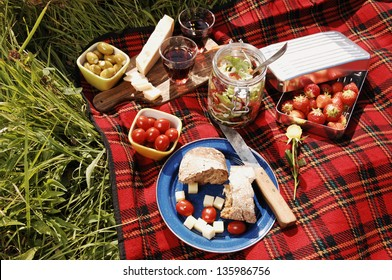 picnic with different sorts of snacks on a blanket