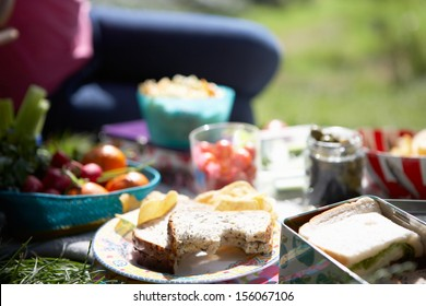 Picnic Food Laid Out On Blanket