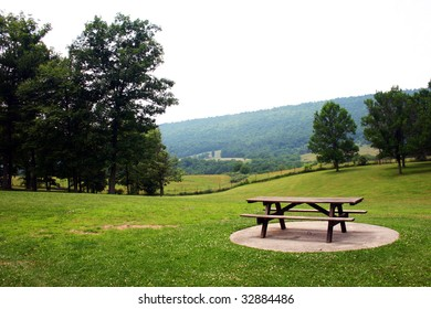 a picnic ground in the mountains