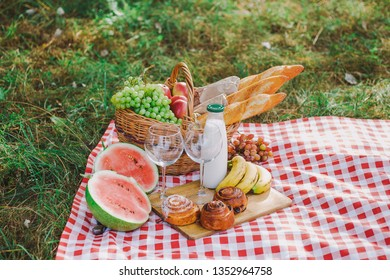Picnic and healthy food concept. Horizontal color photography.