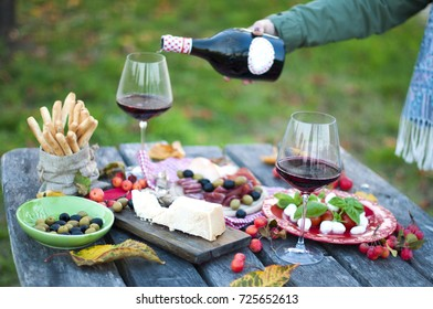 picnic with Italian food. Red wine. green glade. a romantic dinner. Parmesan. salad. salts. mazarella. Dried Sticks