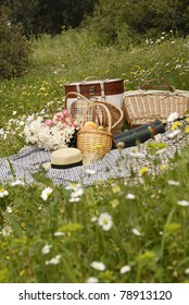 Picnic on meadow behind the daisy flowers