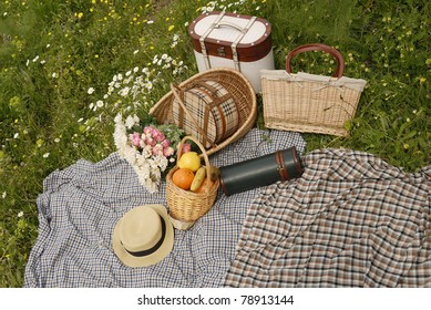 Picnic on meadow and daisy flowers