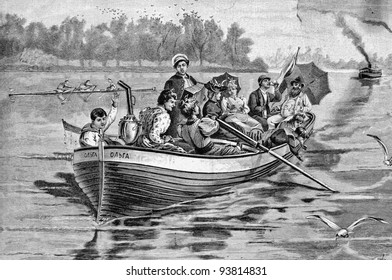 "Picnic on the water. Engraving by Schyubler from picture by painter Broling. Published in magazine ""Niva"", publishing house A.F. Marx, St. Petersburg, Russia, 1893"