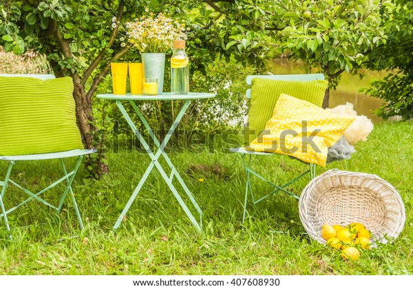 Picnic outdoors. Preparations for the picnic. Garden decoration
