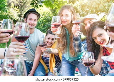 picnic party group of friends at garden having fun drinking cheering with red wine glasses. beautiful young people smiling with positive expression