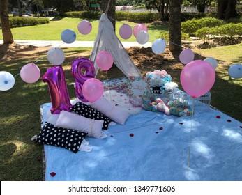 Picnic party setup.Outdoor decoration