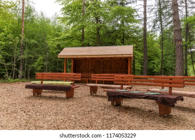 Picnic place in forest. Wooden hut with benches