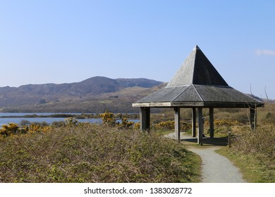 A picnic shelter and observation point on the man made lake at the decommissioned Trawsfynydd nuclear power plant site, Wales, UK.