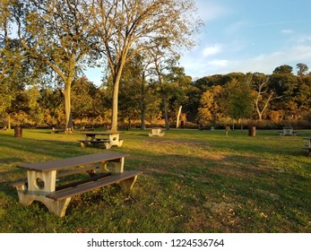 Picnic Table and Barbecue Grill at State Park