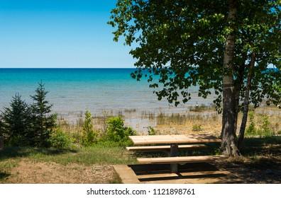 Picnic table at Lake Michigan