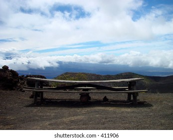 Picnic table on the slopes of Mauna Kea, Hawaii.