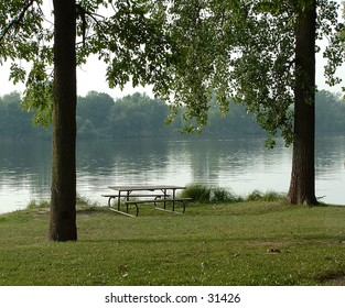 picnic table at the river
