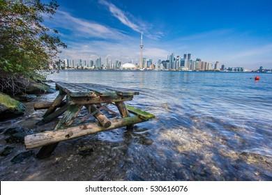 A picnic table with Toronto Skyline