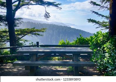 Picnic table at viewpoint above Cape Perpetua, Oregon coast