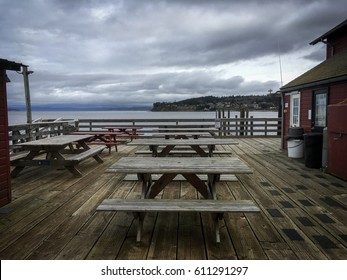Picnic tables on the pier