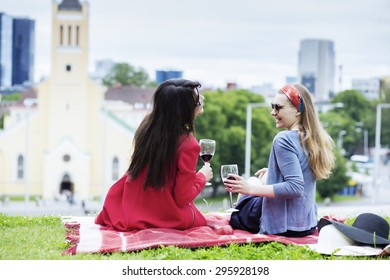 Picnic view with the cityscape of Tallinn