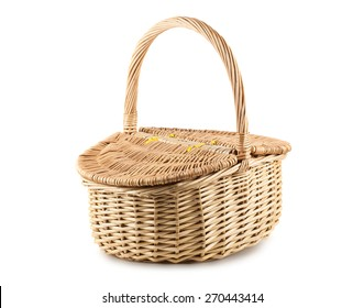 Picnic wicker basket with lid isolated on white background