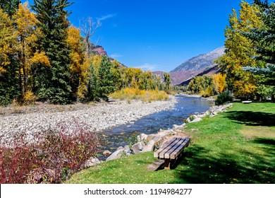 Picnicking at Redstone Park on the Crystal River Redstone Colorado USA