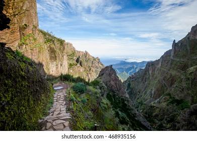 Pico Arieiro to Pico Ruivo hiking route. Madeira island, Portugal.