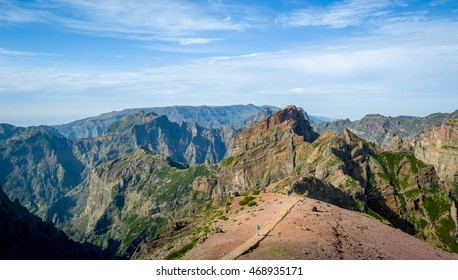 Pico Arieiro to Pico Ruivo hiking route. Scenic mountain landscapes of Madeira island, Portugal.