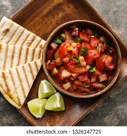 Pico de Gallo - traditional mexican salsa with tomatoes and chilis