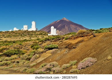 Pico del Teide and white houses of Teide Observatory, Tenerife