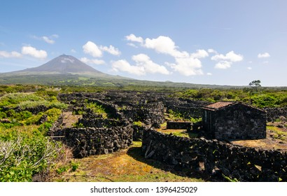 Pico Island, Azores, Portugal, with a view to Pico Mountain and wine culture between clouds
