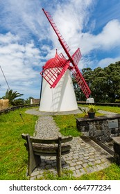 Pico Vermelho windmill on the coast of Sao Miguel Island, the Azores archipelago in the Atlantic Ocean belonging to Portugal