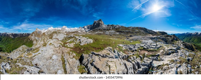 Picos de Europa (Peaks of Europe) a mountain range part of the Cantabrian Mountains in northern Spain.