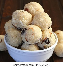 Pics of ladoo made with coconut and ghee for celebration of krishna janmashtami and other festivals.