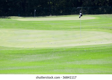 pictire of golf landscape with balls on green grass