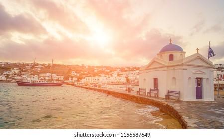 Pictiresque evening on Mykonos island, view from pier