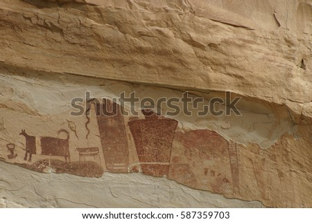 Pictoglyphs (petroglyphs and pictographs) Native American rock art San Rafael Swell, Utah U.S.A.