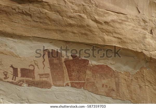 Pictoglyphs (petroglyphs and pictographs) Native American rock art San Rafael Swell, Utah U.S.A.
