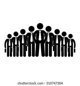 pictogram stick figure icon businessmen leader boss big company human resources