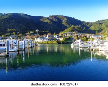 Picton New Zealand. Famous harbor town. Yacht marina on Sunny day