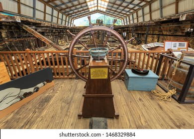 """Picton / New Zealand - March 29 2018: Remains of The """"Edwin Fox"""", a Sailing Ship Built in Calcutta in 1853, Now Preserved in a Picton Museum. View From the Stern"""