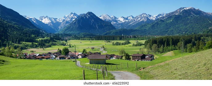 pictorial alpine landscape allgau, view to tourist resort rubi village and oberstdorf, upper bavaria